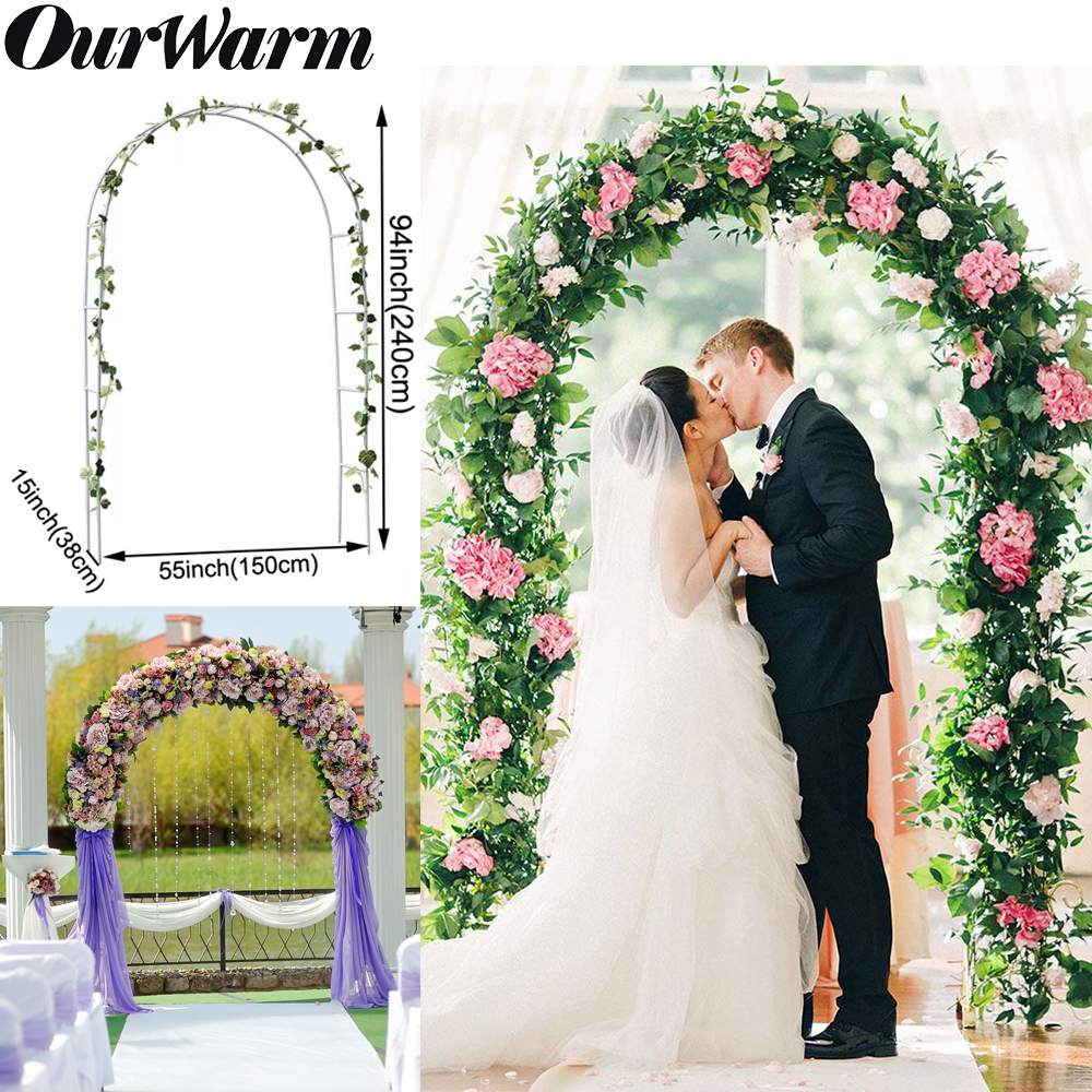 OurWarm Iron Wedding Arches Frame Decoration Backdrop Pergola Garden Flower Stand Wedding Balloon Arch White DIY Party Decor(China)
