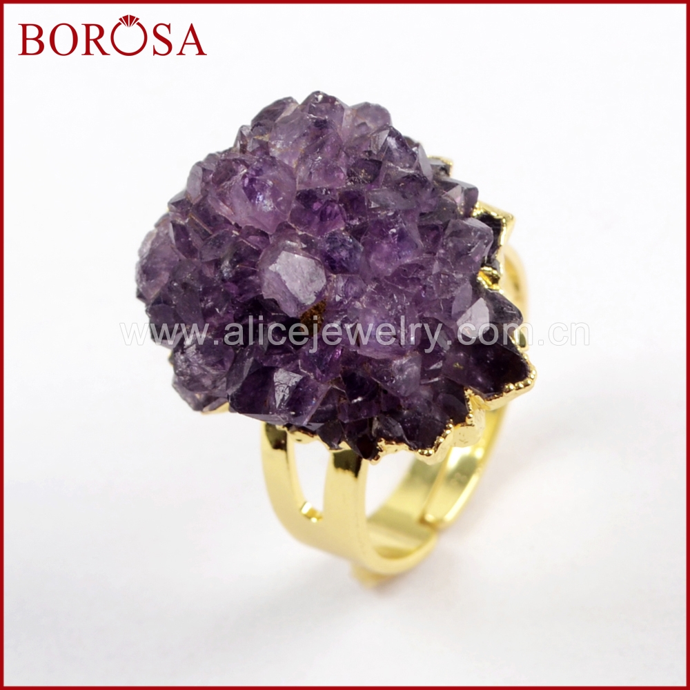 BOROSA 5PCS Freedom <font><b>Raw</b></font> Amethysts Gold Adjustable <font><b>Rings</b></font>,Size 6.5 Natural <font><b>Crystal</b></font> Druzy <font><b>Ring</b></font> Jewelry for Party Gifts WX1019 image