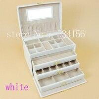Бесплатная доставка роскошный большой 4 слоя белая кожа шкатулка серьги коробка дисплея свадебные подарки подарочная коробка