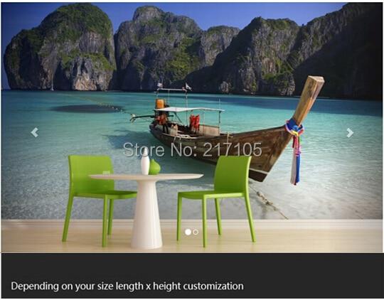 Custom 3D stereoscopic wallpaper mural Thailand Beach boat for the living room TV backdrop waterproof vinyl wallpaper home decor custom baby wallpaper snow white and the seven dwarfs bedroom for the children s room mural backdrop stereoscopic 3d