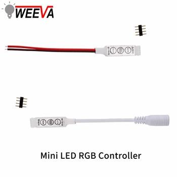 LED RGB kontroler DC 12V Mini 3 Chave LED RGB Controlador para listwy RGB LED 3528 5050 listwy RGB LED światła kontroler tanie i dobre opinie Weeva plastic other Ściemniacze 1 year