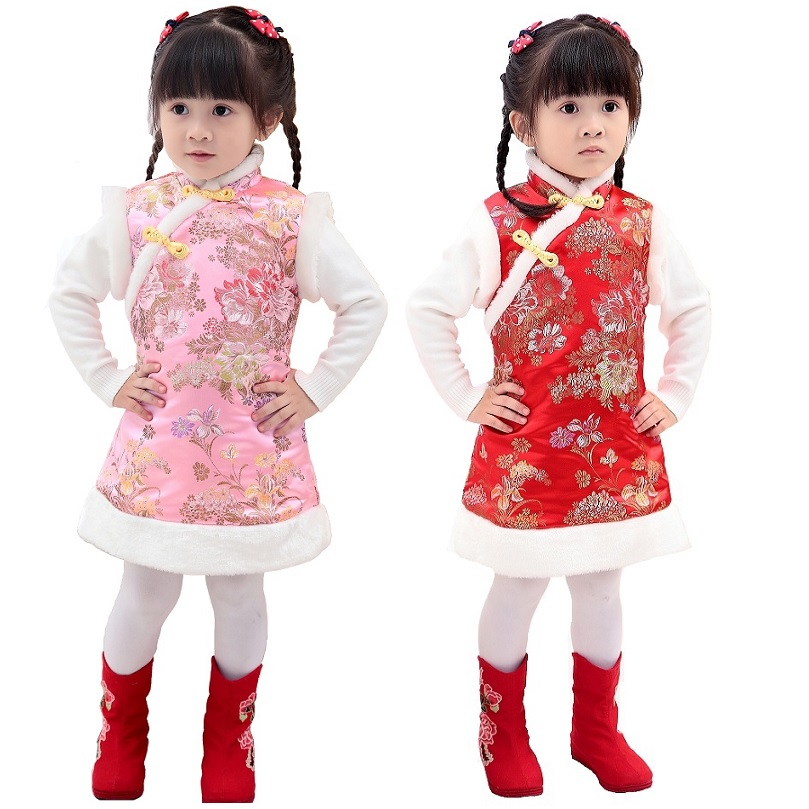 Baby Girls Quilted Coats Festival Waistcoat Girl Down Jacket Chi-pao Dresses Chinese Children Qipao Outerwear Thick Outfits Vest ветровка мужская independent chance quilted vest black