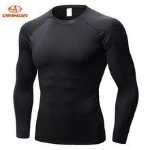 QIANDA группа Для мужчин Беговая футболка Велоспорт базовый Слои Спортивное нижнее белье с длинным рукавом плотно дышащий быстросохнущие тренажерный зал Фитнес рубашки