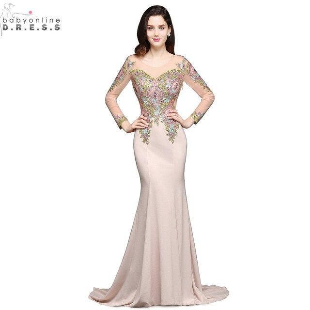 3ddff44550c Robe de Soiree Longue Luxury Beaded Lace Mermaid Long Sleeve Evening Dress  Sexy Sheer Back Evening Gown Vestido de Festa