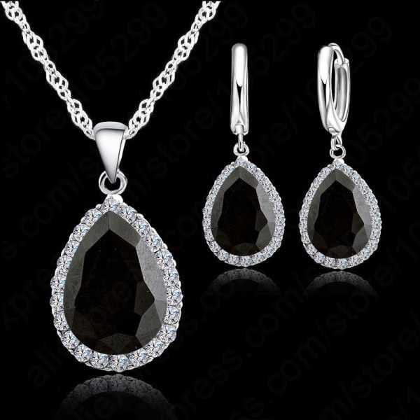 Heißesten 925 Sterling Silber Halskette Schmuck Set Wasser Tropfen Kubische Zirkon Kristall Halsketten Hochzeit Halskette Anhänger
