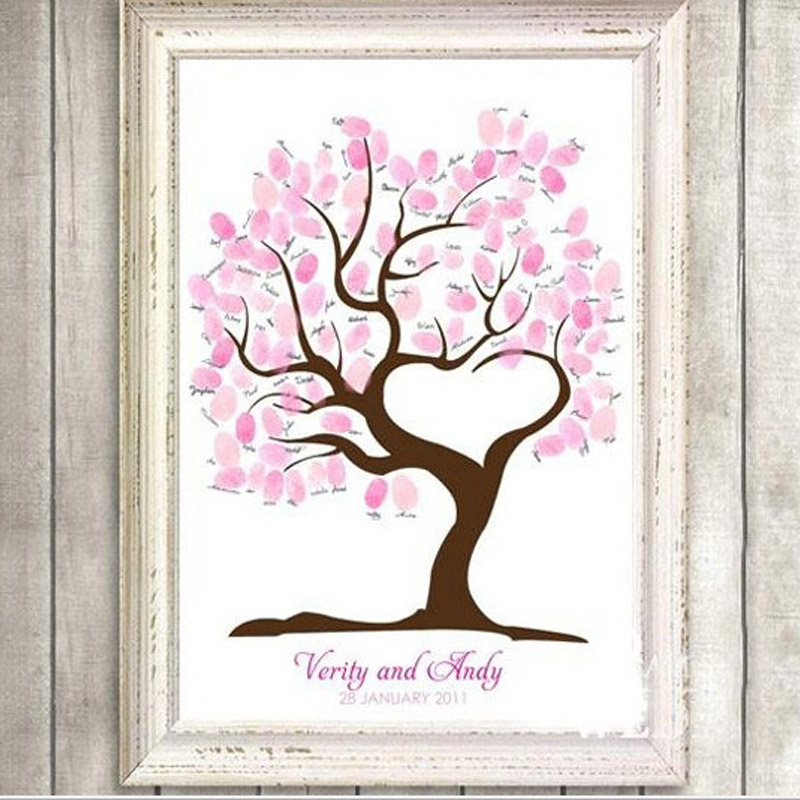 Aliexpress Fingerprint Tree Wedding Canvas Painting Decoration Party 60x75cm 2017 Gifts Casamento Diy Decor From
