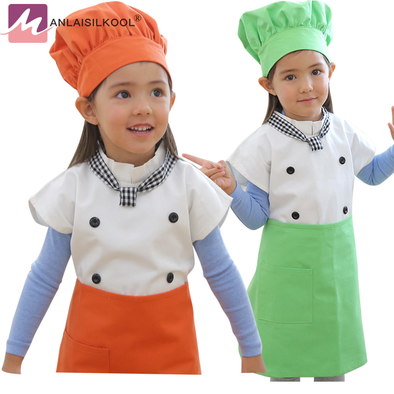 4Pcs/Set Children Apron Kit Bowknots Kitchen Cooking tablier cuisine enfant Cleaning Painting Drawing Kindergarten Strap
