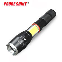 Hot new led telescopic zoom T6 hidden COB light flashlight tail strong magnetic charging LED