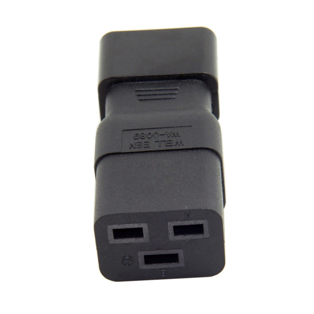 Free Shipping IEC320 Male C14 to Female C19 Power Mains Extension Adapter for PDU UPS 10A to 16A