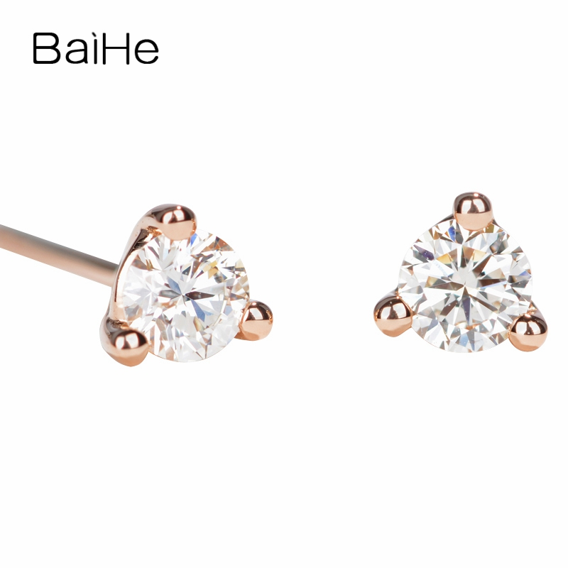 BAIHE Solid 14K Rose Gold 0.10CT H/SI 100% Genuine Natural Diamonds Engagement Trendy Fine Jewelry Elegant Unique Stud Earrings solid 18k rose gold unique stud earrings for women si h 100% natural diamonds earrings unique trendy party fine jewelry