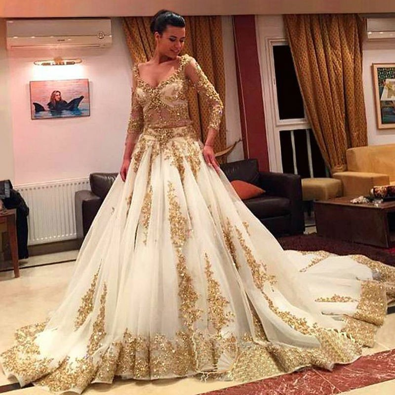 Two Pieces Wedding Dresses Gold And Ivory Arabic Beads Luxury V Neck Long Train Vintage Bridal Gowns With Sleeve MWD01 In From Weddings