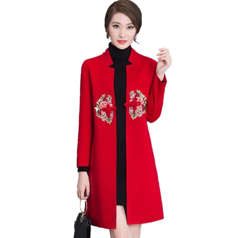 Fashion Women Coats Embroidery Cotton Elegant Casaco Feminino Wool 3XL Warm Autumn Winter Red Ladies Outerwear Vintage Clothes