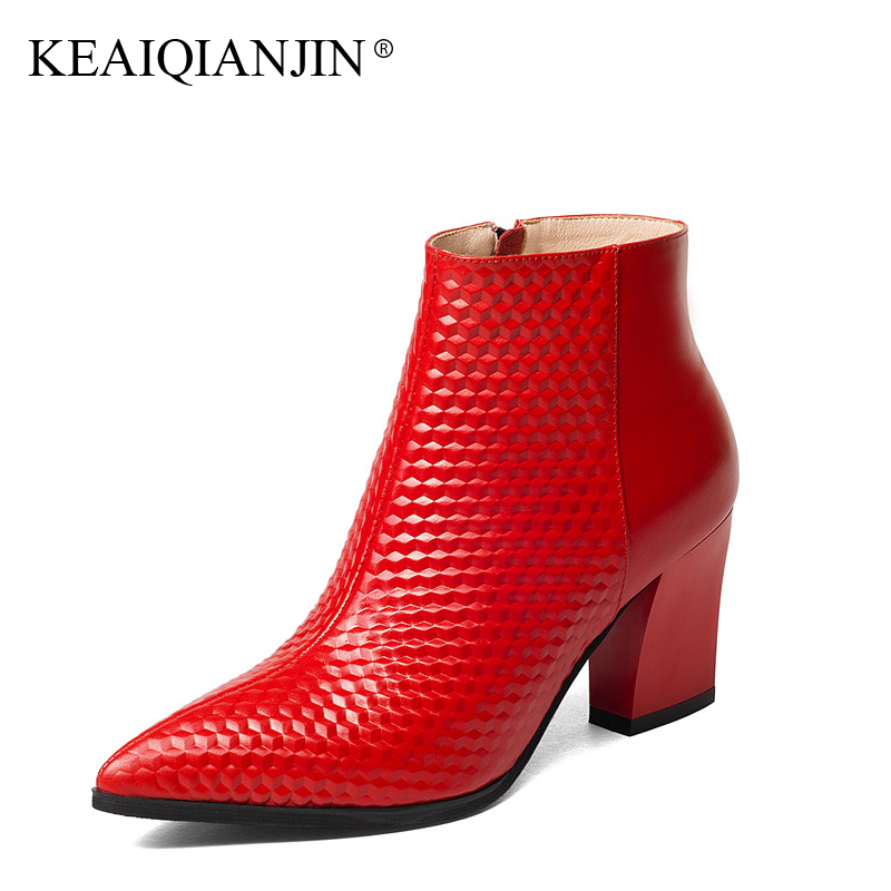 KEAIQIANJIN Woman Genuine Leather Red Ankle Boots Black Autumn Winter High Heels Shoes Pointed Toe Martins Chaussure Cow Leather keaiqianjin woman pointed toe ankle boots black autumn winter genuine leather shoes fashion metal decoration chelsea boots 2017