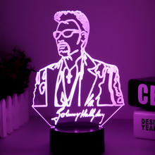 Johnny Hallyday 3D Lamp Illusion Bedside LED USB Touch RGB 7 Color Changing Table Night Light Singer Baby Decorative Lamp Decor 3d visual illusion camping bus led lamp transparent acrylic night light led lampa 7 color changing touch table bulbing room lamp