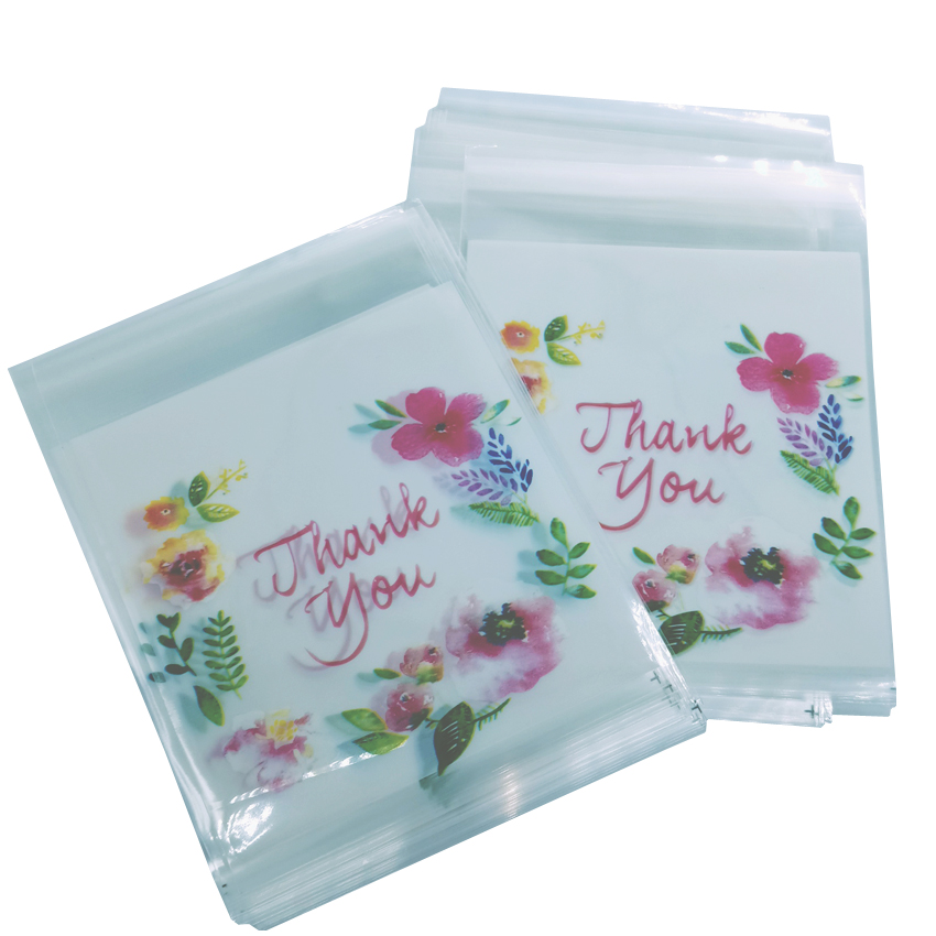 100pcs/lot Multi Plastic Cookie Bag Self-adhesive Flower Window Food Envelope Portable Storage Bag 10x10cm 4 Style Opp Bag