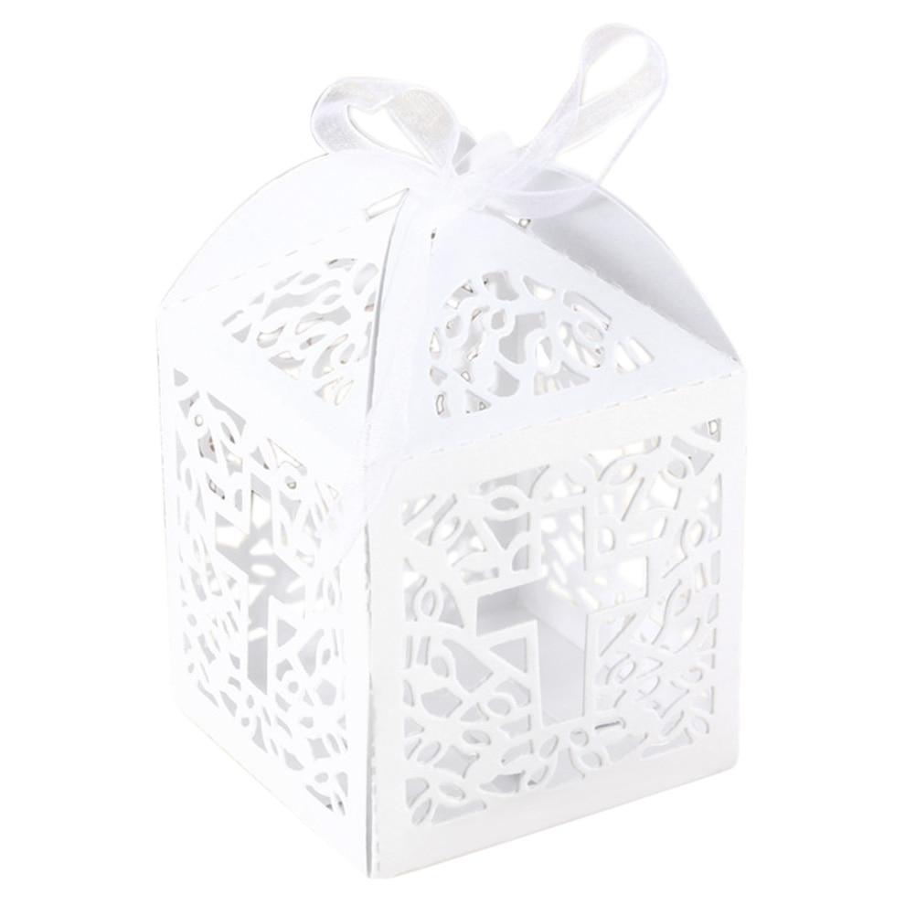 10Pcs / pack Ribbon Paper Laser Cut Out Cross Gift Candy Box Wedding ...