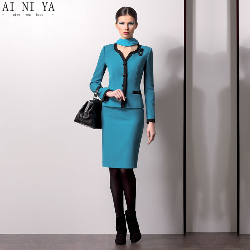 New Turquoise Women Church Suits Female Elegant Skirt Suits OL Formal Business Work Wear Women's Office Suits Custom Made