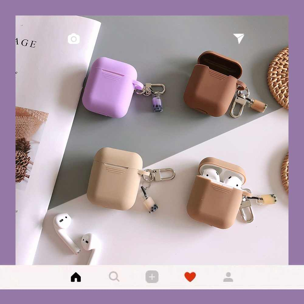 Cute Milk Tea for AirPods protective Case Silicone Soft shell for wireless Bluetooth headset set female Cover anti-fall