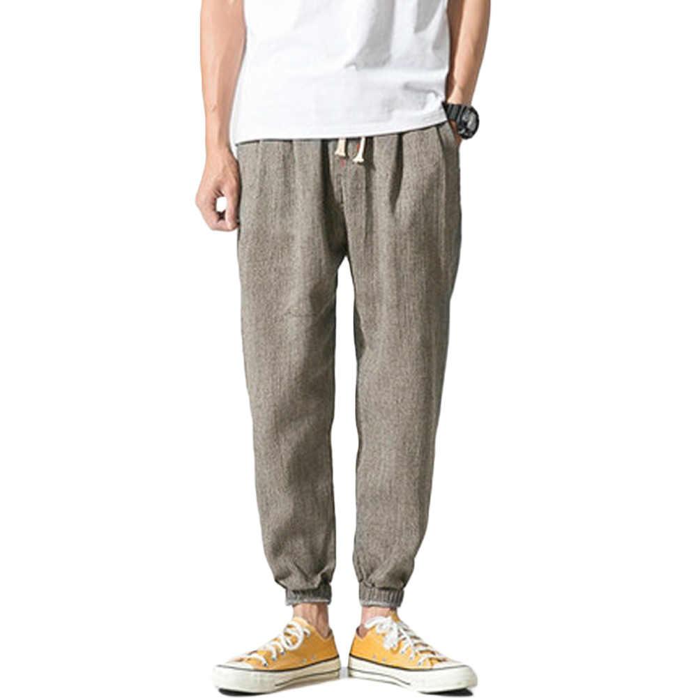 Holgados Pantalones De Lino Para Hombre Vanvene Pantalones De Yoga Cintura Elastica Con Cordon Pantalones Casuales Hombre Pantalones