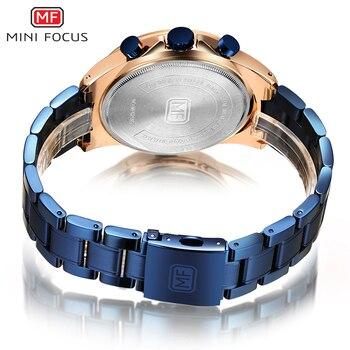 MINI FOCUS Luxury Brand Men Watches Stainless Steel Fashion Men's Wristwatch Quartz Watch Mens Waterproof Relogio Masculino Blue 6