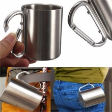 180ml Stainless Steel Camping Cup Mug Traveling Carabiner Aluminium Hook Double Wall free shipping