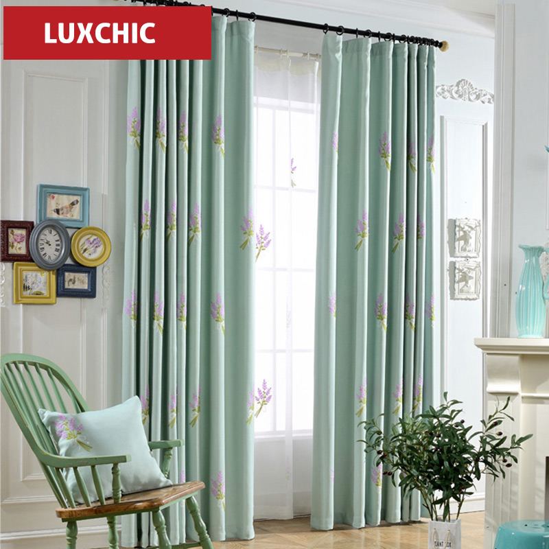 Mediterranean Classic Blue Embroidered Curtains For Living Room Bedroom Luxury Window Drapes Voile