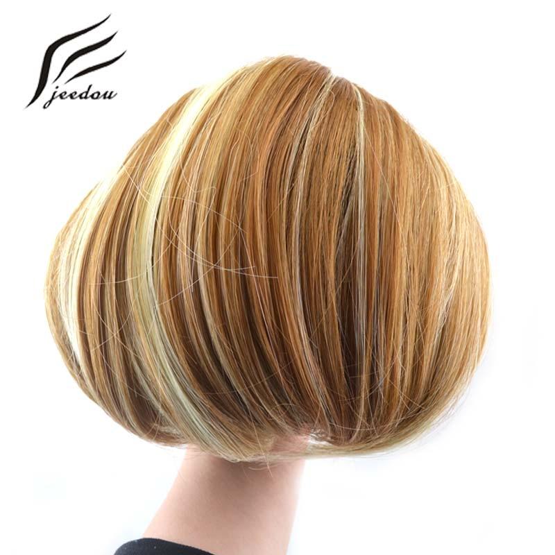 Jeedou Syntetisk Straight Drawstring Clip In Hair Bun Piece Updo Cover Hårförlängningar Q9 Women's Donut Chignon