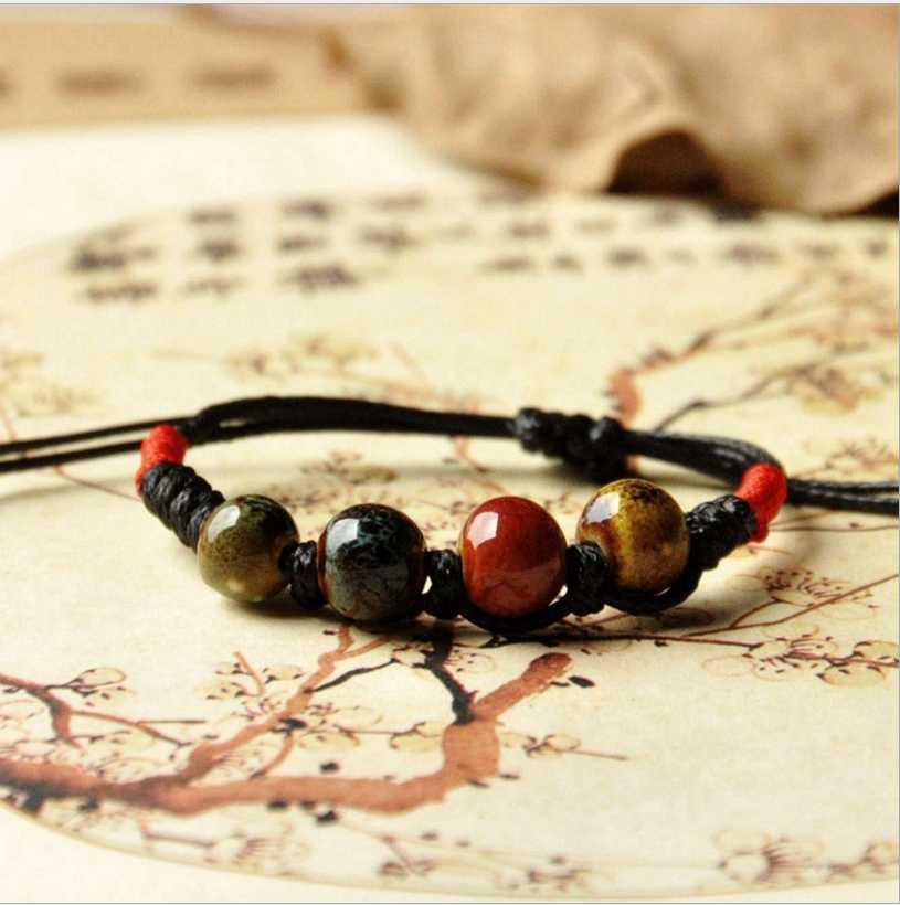 Donne di Cuore Rotondo Nero Braccialetti con perline di Ceramica bracciali e braccialetti Degli Uomini tessuti a mano Gli Amanti paio di piccolo commercio all'ingrosso Dei Monili di Lucky
