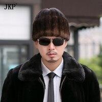 Winter Men Real Mink Fur Hats Russian Warm Ear Outdoor luxury Caps Casual Fur Bomber Earmuffs Cap Leifeng Hats