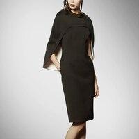 Плюс Размеры деловая модельная одежда новое поступление естественно ни рукав летучая мышь твердые Новинка халат Макси платье тонкий в дли