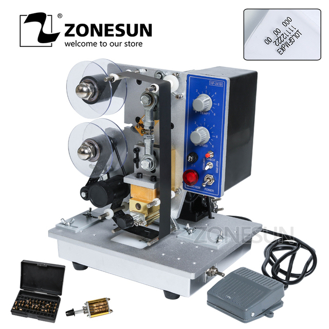 ZONESUN Semi automatic Hot Stamp Coding Machine Ribbon Date Character, Hot Code Printer HP-241 Ribbon Date Coding Machine