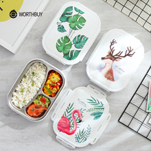 WORTHBUY Japanese Color Pattern Bento Box 304 Stainless Steel Lunch Box With Compartments For Kids School Food Container Box