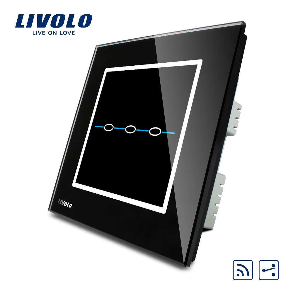 Livolo UK standard 2 Ways Remote Touch Wall Light Switch,AC 220~250V, Black Crystal Glass Panel,C303SR-32,no remote controller 2way 2 gang crystal glass panel smart touch light wall switch remote controller white black 160 250v ac favorable