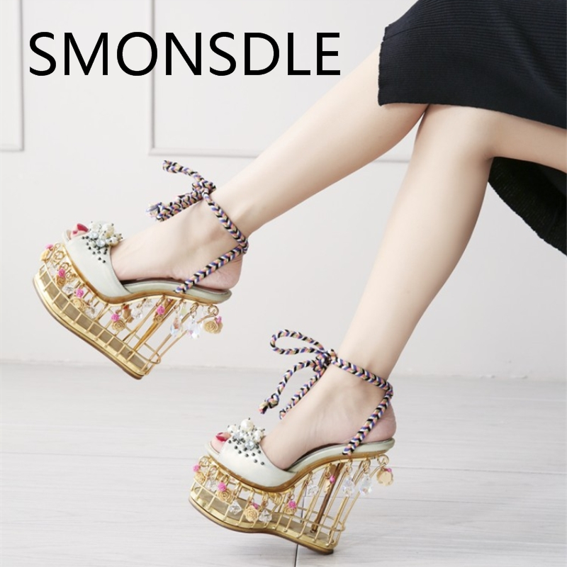 2018 New Fashion Women Gold Genuine Leather Platform Sandals Flowers - Women's Shoes