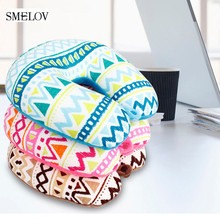 lightweight Comfort Print U Shaped Travel Pillow Micro Foam Particle Neck Support Headrest Pillows for Office Airplane Train Car