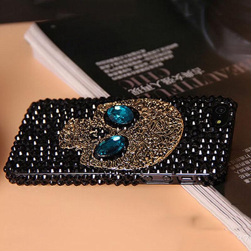 Saphire Diamante hecho a mano de Metal ojo Skull volver Cubierta de la caja del teléfono para El Iphone 5 5S 6 6 plus para Samsung galaxy S6 S7 S6 edge