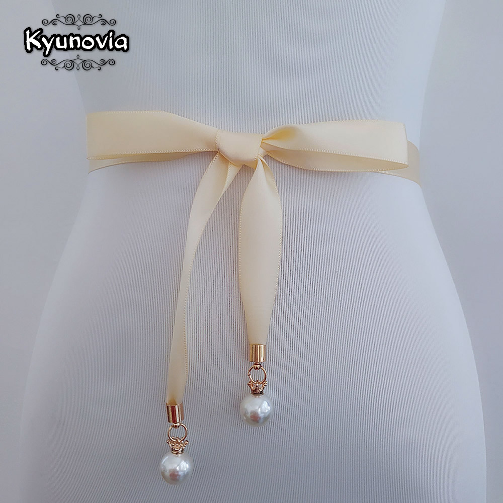 Kyunovia Pearl Pendant Style Prom Dress Belt High Quality Double Sided Satin Sash Pearl Sash Thin Bridal Gown Wedding Belt D80