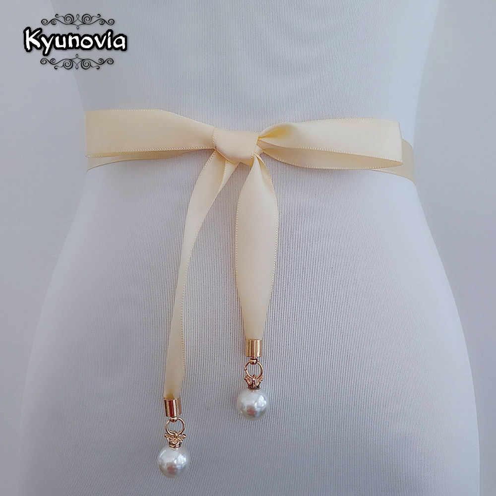 Kyunovia Pearl Pendant Style Prom Dress Belt High Quality Double Sided  Satin Sash Pearl Sash Thin 42f57ef0403e