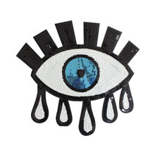 New Fashion Sequins Iron on Patches for Clothing Sew-on Embroidered eye  white logo Patch Applique DIY Accessory db18952b588e