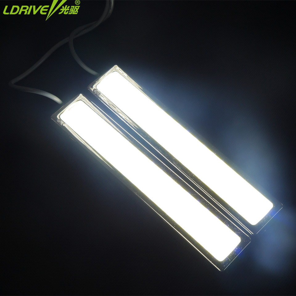 12V 2PCS/lot Universal car Waterproof Super Bright COB LED DRL Strobe Light COB LED Daytime Running Light with Strobe Function