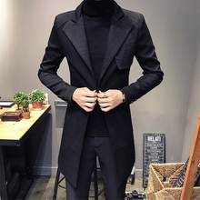 Mens Trench Coat 2019 New Fashion Designer Men Long Coat Autumn Winter Single Button Windproof Slim