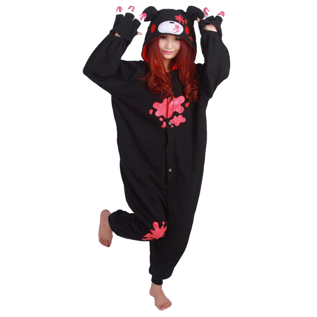 Adult Men Women  Gloomy Bear Cute  Onesie Cosplay Pajamas Black Pink Pajamas Halloween Party Stager Unisex Clothes