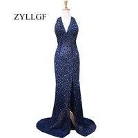 ZYLLGF сексуальное вечернее платье без спинки платье годе с лямкой на шее шеи высокого платье, расшитое кристаллами с глубоким вырезом с бисер