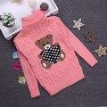 Venta caliente 2-10Y Otoño Chica Jersey de Cuello Alto Suéteres Suéter Caliente Del Invierno Muchacho Niño Niños ropa de Abrigo Cálido KC-1547-3