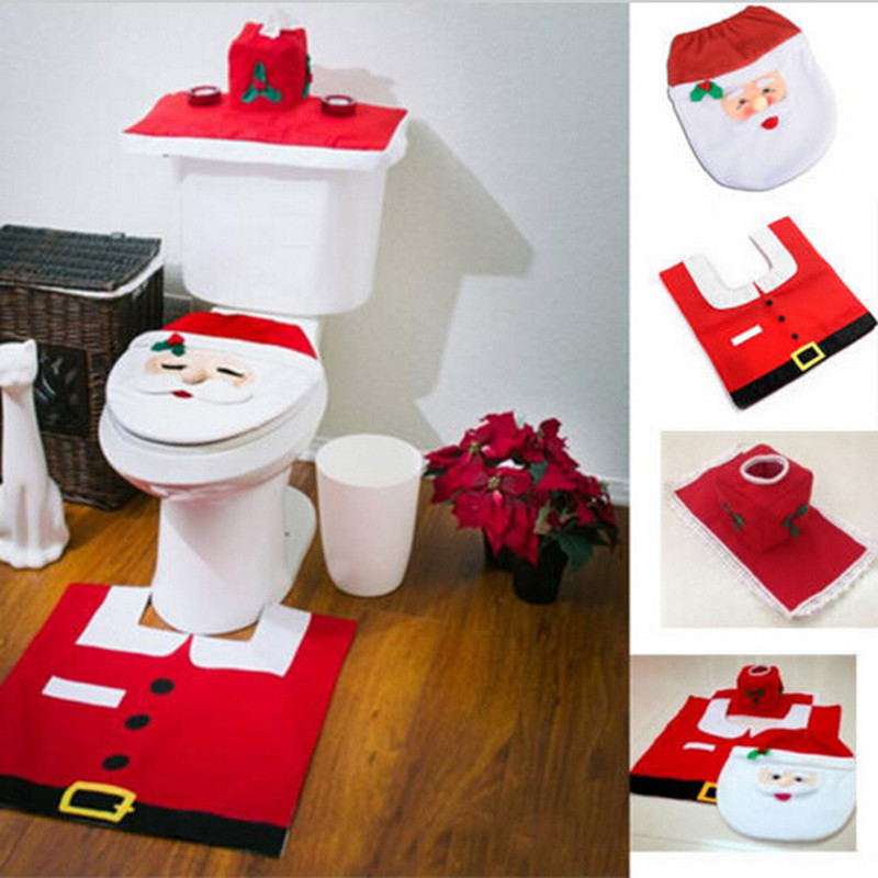 3pcs Lot Christmas Decoration Bathroom Santa Claus Toilet New Year Home Gifts Enfeites Natal Navidad In Seat Covers From