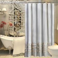 DUNXDECO Shower Curtain Bathroom Waterproof Cortinas Vintage Romantic Lace Border Stripe Polyester Fabric Rideau Home Decor