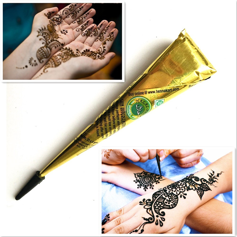 1pc black henna tattoo paste cones temporary indian mehndi. Black Bedroom Furniture Sets. Home Design Ideas