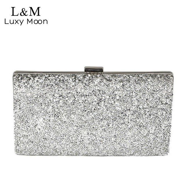 Women Day Clutch Rhinestone Party Chain Hand Bag Ladies Crystal Evening Bags  Dressed Long Purse Black Gold Silver Glitter XA48H d205051c6005