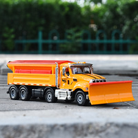 Alloy American Series Engineering Car Snow Clearer Vehicle Shoveling Snow Car Snow Removal Big Truck Model Toys Metal 1:50