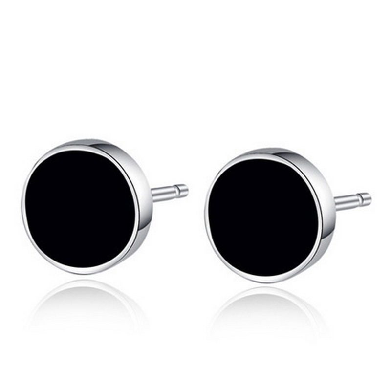 2017 New Simple Summer Style Silver Plated Black Round Circle Earrings For Men Enamel Drip Oil Crystal Stud Earring Male Jewelry In From